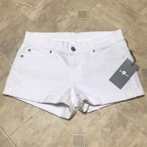 🆕 NWT 7 for All Mankind Cuffed White Shorts